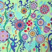 La prairie fleurie - 140x100 cm - acrylique - 1200 €