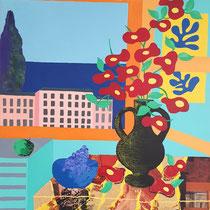 Bouquet de fleurs (inspiration Matisse) - 60x73 cm - acrylique - 400 €
