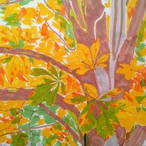 Le marronnier - aquarelle sur papier layout - réservé