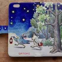 来年のカレンダーにも使用した「星降る夜」で、スマホケースの依頼をいただき作りました。