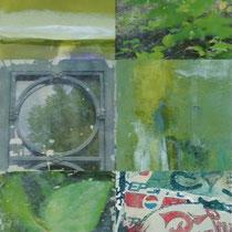 «Amsterdam» (grün), 100x50 cm, Mischtechnik auf Forexplatte: Foto/Digitale Collage/Acryl&Tusch | VERKAUFT