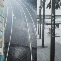 «Mannheim 3», 30x90 cm, Mischtechnik auf Forexplatte: Foto/Digitale Collage/Acryl&Tusch