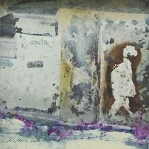 «Amsterdam 2», 20x20 cm, Mischtechnik auf Papier, eingerahmt: Foto/Digitale Collage/Acryl&Tusch | VERKAUFT