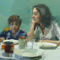 Familia a la mesa. Detalle.