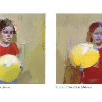Los globos. Dos piezas de 20x20 cm.