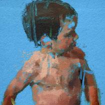 Niño en el agua. 38x50 cm.