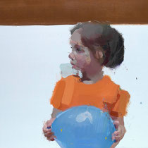 Niña con globo azul. 62x95 cm.
