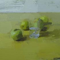 Manzanas y vaso. 50x38 cm.