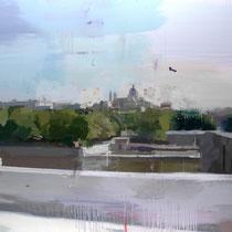 Palacio y catedral. 125x144 cm.