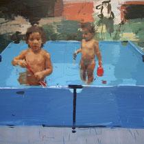 Niñas en la piscina. 120x144 cm.