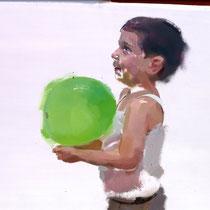 Niño con globo verde. 50x70 cm.