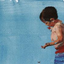 Niño en la piscina II. 18x35 cm.