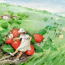 水彩画         メルヘン・大きなイチゴ