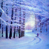 パステル画                           新雪の夕暮れ