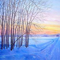 パステル画                         夕陽を見送る木立