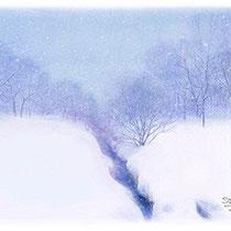 パステル画                         雪に包まれる小川