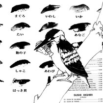"""""""stasera sushi!"""" Tecnica: trattopen + collage 21x29,7cm"""