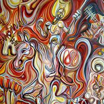 Don Quijote y Sancho en los molinos de viento/ Óleo sobre lienzo / 120 x 100 cm / 2008