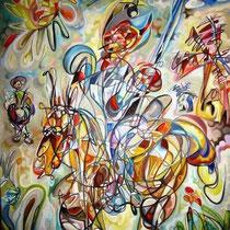 Don Quijote y Sancho en los molinos de viento / Óleo sobre lienzo / 120 x 100 cm / 2008 / Vendido