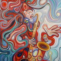 Saxofonista / Óleo sobre lienzo / 90 x 70 cm / 2015