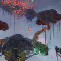 heroine et boue, oil, 145x145cm, 2010