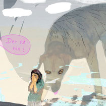 Angst vor Hunden#Frau#panisch#Hundsurreal#Wolken