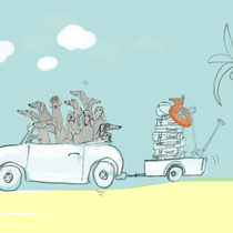 Dackel-Urlaub#Auto#Strand#Palmen#Koffer#