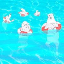Der Lebensraum der Eisbären ist in Gefahr/ Rettungsringe# Seenot# Meer# Verzweiflung# Cartoon