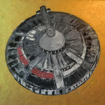 2012 - 360 gradi verso il futuro - olio a spatola su tela - 40x40 cm - collezione privata