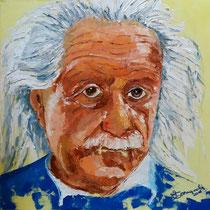 """""""L'IMMAGINAZIONE RACCHIUDE IL MONDO"""" - omaggio ad Albert Einstein - olio a spatola su tela - 50x50 cm - 2016"""