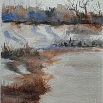 2011 - Inverno lungo il fiume - acquerello su carta 300 - 57x38 cm - donato progetto Roberto