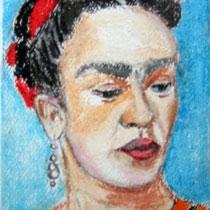 2010 - Frida - omaggio a Frida Kahlo - mail art - olio su cartoncino - 20x15 cm -