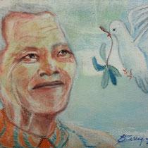 2014 - Peace and Freedom - Omaggio a Nelson Mandela - Pastelli ad olio su carta 300 - 28x38 cm- museo Montevideo Uruguay