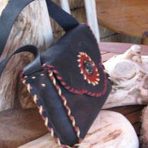 Tolles schwarzes Leder .. zweifarbig handvernäht
