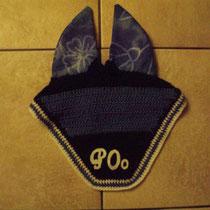 Bonnet bleu marine, bleu océan, liseré blanc, taille poney C (ref 13)