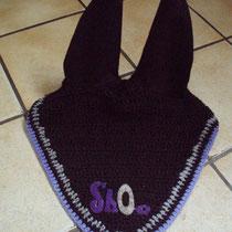 Bonnet noir, liseré gris, violet, taille poney D (ref 21)