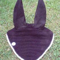 Bonnet noir, liseré gris, taille cheval [grandes oreilles] (ref 45)