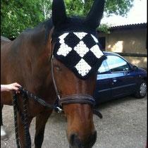 Bonnet damier noir et blanc, taille poney D (ref 33)