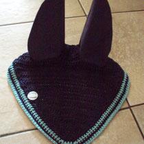 Bonnet bleu marine, liseré bleu turquoise, taille cheval (ref 35)