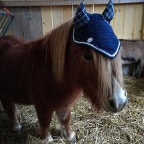 Bonnet taille mini, coloris bleu marine, liseré blanc, oreille en coton tissus écossais (ref 57)