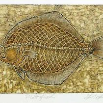 Carborundum-Radierung: Plattfisch
