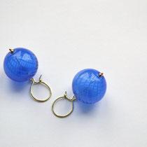 Ohrringe Muranoglas, 585 Gelbgold, mundgeblasen, blau, Lileauxfleurs Schmuck Hamburg