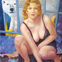 Vicino all'orso, 1999, olio su tela, 72 x 102 cm