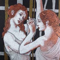 La Danza(ciclo Rivisitazioni),2013 -Pigmenti acrilici rame,ottone,argento,acciaio,su tela,cm60x60