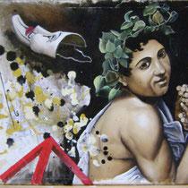 Bacco in equilibrio, 2014, olio su tela su tavola, 65 x 40 cm