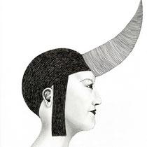 """la parte animale - r"", 2014, penna e matita su carta, 35x60cm"
