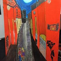 Incontrarsi al Pratello, olio e acrilico su cartone, 51 x 73 cm