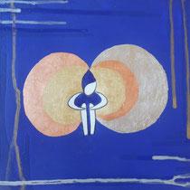 L'Io...Solo, 2010, acrilico, mista(foglia metallica, grafite su tela), 30x30 cm