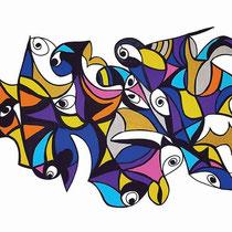 Malizia, 2015, tecnica mista su tela, 100 x 70 cm