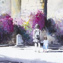 In piazza, 2014, acquerello su carta, 36x57 cm